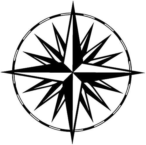 UYEDSR Car Stickers 15.5cmX15.5cm Wind Rose Compass Fashion Decor Car Sticker Vinyl-Black_1PCS