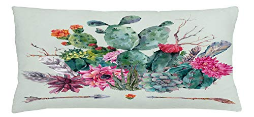 Ambesonne Cactus Throw Pillow Cushion Cover, Spring Garden with Boho Style Bouquet of Thorny Plants Blossoms Arrows Feathers, Decorative Square Accent Pillow Case, 36 X 16 Inches, Multicolor