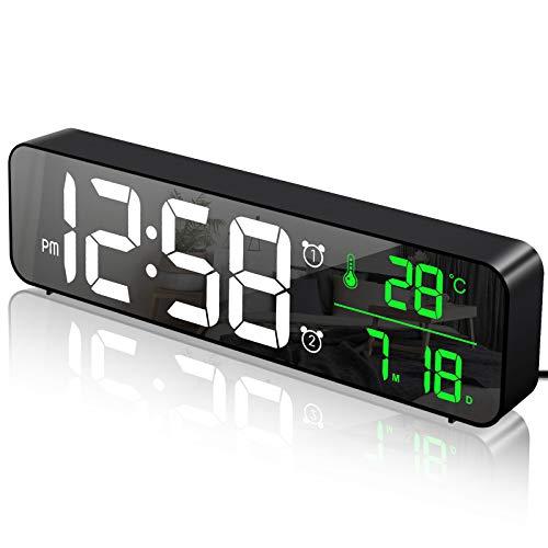 MOSUO Digitaler Wecker, LED Wecker Digital Spiegel Wanduhr Große Ziffern Tischuhr mit Datum Temperaturanzeige, USB Digitalwecker Uhr, 2 Alarmen 40 Musik, Einstellbare Helligkeit, Schwarz