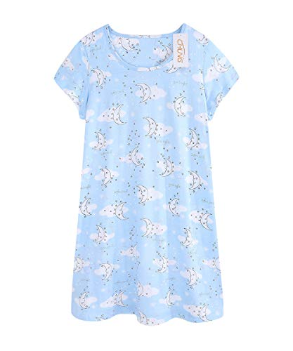 CHUNG Women Cotton Nightgown Casual Print Sleep Dress Shirt Tee Short Sleeve Sleepwear S-XL-Moon-L