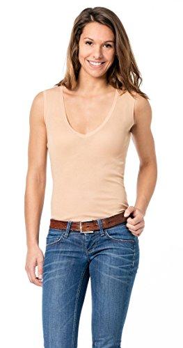 Hautfarbenes Unterhemd/Damenunterhemd unsichtbar V-Ausschnitt Damenshirt hautfarben ohne Arm Business Shirt 0/0 Arm Damen (38 (S))