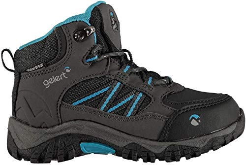 Gelert Kids Horizon Mid Waterproof Infants Walking Boots Lace Up Breathable Charcoal/Blue UK C9 (27)