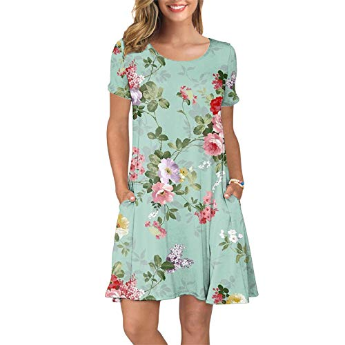 acction Women Summer T Shirt Dresses Floral Printed Short Sleeve Boho O-Neck Beach Dress Casual Loose Swing Dress with Pockets