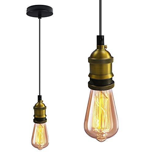 Bronze Retro Pendelleuchte, Vintage Industrie Loft Kronleuchter, E27 Hängeleuchte, Industrie deckenlampe, Keramik Lampenfassung, für Restaurant Bar Treppe Schlafzimmer(Leuchtmittel nicht inklusiv)