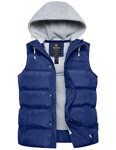 Wantdo Women's Insulated Hooded Winter Sleeveless Vest Puffer Coat Blue X-Large