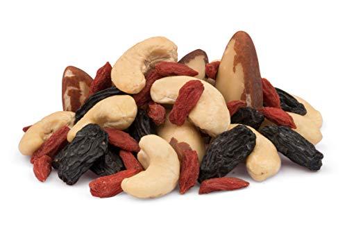Mezcla de anacardos, nueces de Brasil, pasas negras Bukhara y bayas Goji BIO 0.75kg orgánica, veganas sin tostar, 100% naturales 750g