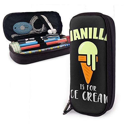 BDSM Vanilla es para Ice Cream Daddy Estuche para lápices de cuero Pu sumiso con cierre de cremallera Estuche de transporte de gran capacidad para la oficina de la escuela
