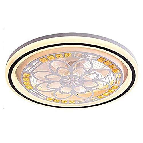 CDwxqBB Deckenventilator Mit Lampe, Ventilator Mit LED-Lampe, Dimmen Mit Fernbedienung, Moderne Minimalistische Schlafzimmer- Und Wohnzimmer-Deckenleuchte Mit Dekorativer Beleuchtung,Round