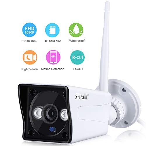Sricam Cámara IP de Vigilancia inalámbrica 1080P WiFi Cámara de Seguridad al Aire Libre Interior H.264, P2P, Detección de Movimiento, IR LED, Visión Nocturna, Color Blanco, SP023