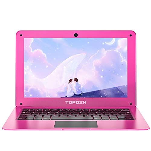 TOPOSH 10.1Inch Kids Laptop Windows 10 PC Notebook Computer 4GB RAM+64GB SSD Intel Atom X5-Z8350 Quad-Core Graphics 1.44 GHz with US Keyboard WiFi Bluetooth-Pink