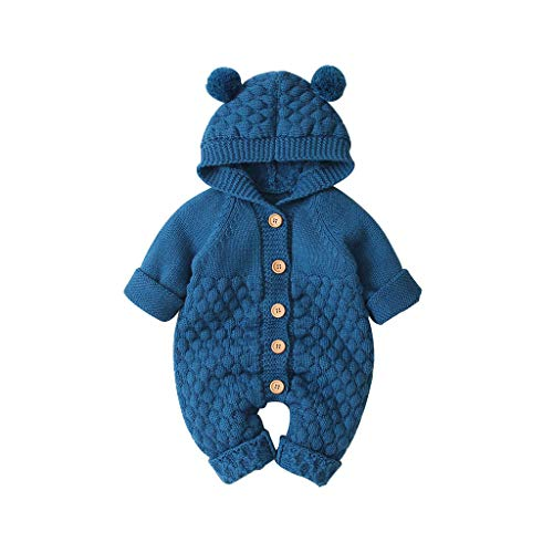 Livoral Baby Winterjacke, Neugeborenes, Baby, Junge, Warmer Wintermantel, Strickjacke, Kapuzenoverall(Dunkelblau,12-18 Monate)
