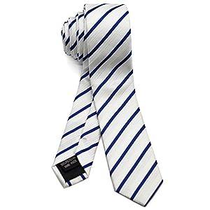 [ダブリューアンドエム] エクストラ ナロータイ 5cm 幅 細 ネクタイ 洗濯 可能 レジメンタル ストライプ 縞 模様 柄 ホワイト ブルー 白