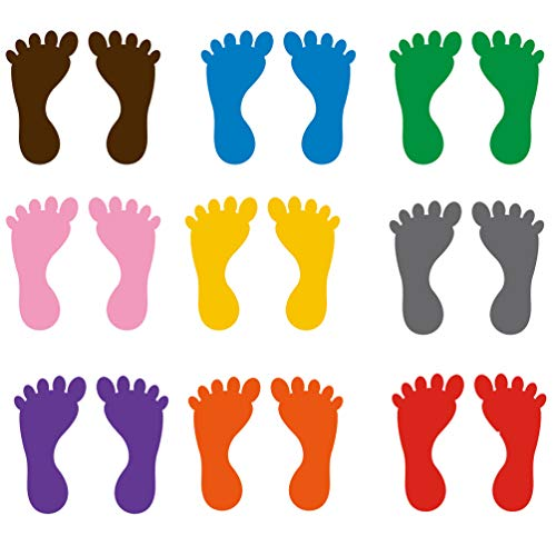 NUOBESTY Footprint Floor Decals Colorful Footprint Stickers for School Kindergarten Classroom Decoration 9 Pairs