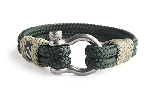 Mover Bracelets Pulsera Náutica para Hombre Hecha a Mano | Varios Tamaños | Color Verde | Argolla Plateada