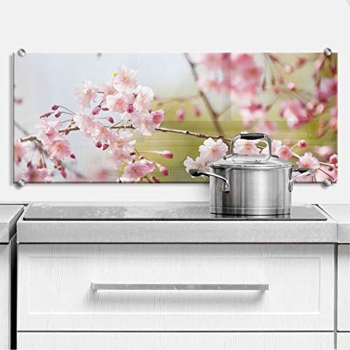 Spritzschutz Cherry Blossoms - Panorama Kirschblüten Rosa Blumen Küche Küchenrückwand Wall-Art - 80x30