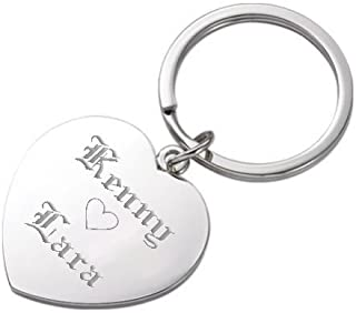 silver heart keyring engraved