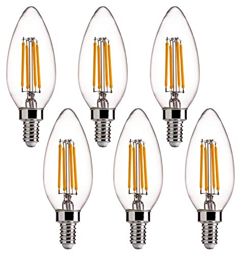B11 E12 Base 60W Equivalent LED Chandelier Light Bulbs - FLSNT Dimmable Clear LED Filament Candle Bulbs, 4.5W, 2700K Soft White - 6 Pack