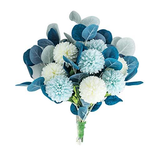 WSYW Flores artificiales para decoración de boda, decoración en casa, oficina, fiesta, arreglos florales, centros de mesa de centro de mesa de hortensia, ramo de flores, color azul