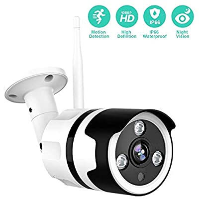 Outdoor Camera - 1080P Security Camera Outdoor, IP66 Waterproof, 2-Way Audio Home Security Camera, Outdoor Camera Wireless with Motion Detection Night Vision, Cloud Storage/TF Card Work with Alexa