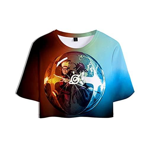 Zcbm Manga Corta Ombligo T-Shirt tee 3D Impreso Uzumaki Naruto Uchiha Sasuke Camisetas De Tirantes Verano Casual