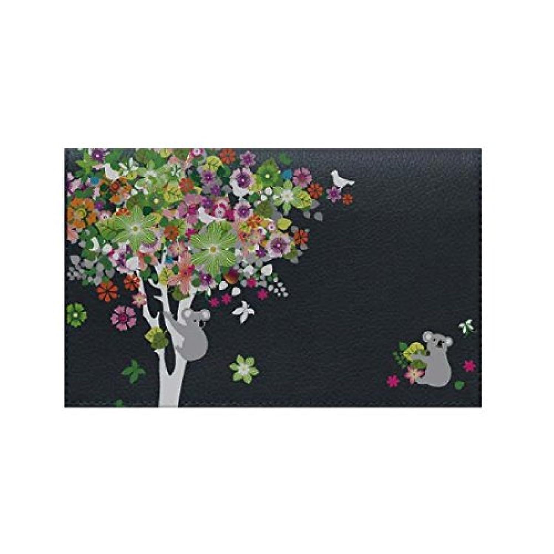 レザー風 通帳カバー カード入れ 通帳5冊 カード3枚 収納可能【3236コアラと花の木_ネイビー】