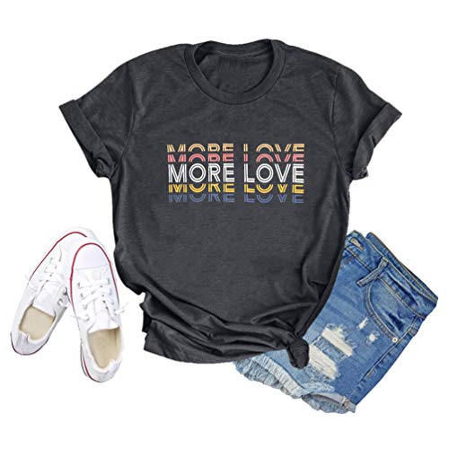 GEMLON Women More Love Letter Print Graphic T-Shirt Causual Short Sleeve Tee Tops Dark Grey