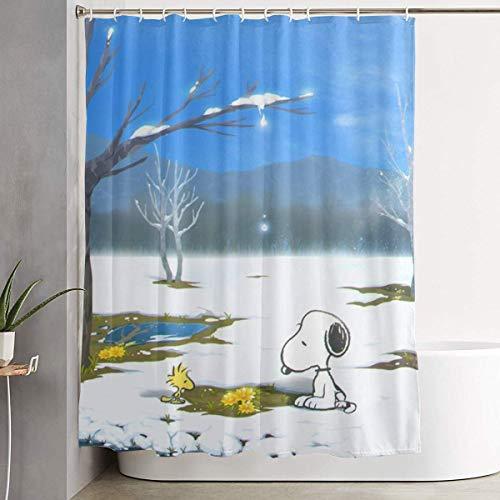 Duschvorhang Snoopy Kunstdruck, Polyester Bad Dekorationen Sammlung mit Haken 60 X 72 Zoll