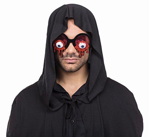Gafas Bloody Eyes Motttland – 610008 – Gafas de Halloween con cristales tintados en rojo y ojos sangrientos