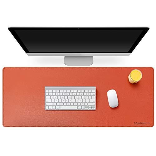 scrivania gaming 40 cm Mydours Pad per Scrivania Multifunzionale in Pelle PU Tappetino per Mouse da Gaming Grande Impermeabile per Ufficio e Casa 95cm*40cm - Arancio