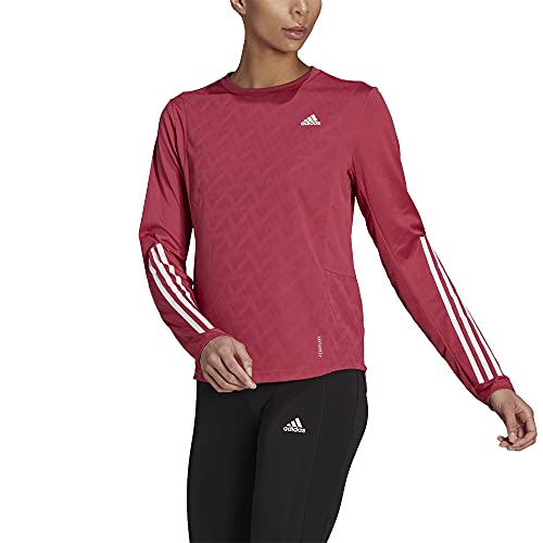 adidas Women's Own The Run 3-Stripes Long Sleeve, Wild Pink, X-Large