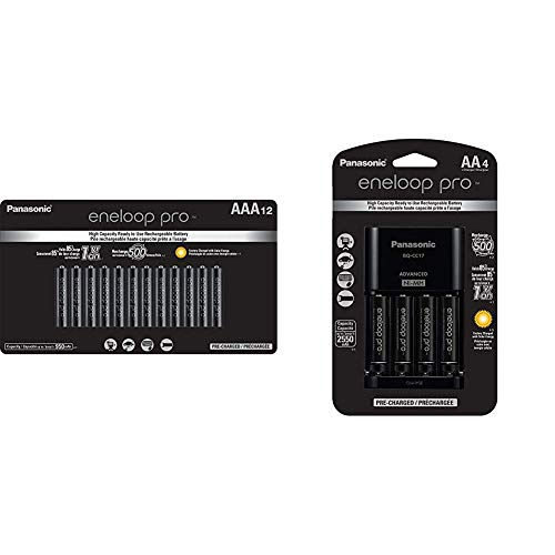 Panasonic BK-4HCCA12FA eneloop pro AAA High Capacity Ni-MH Pre-Charged Rechargeable Batteries, 12 Pack & K-KJ17KHCA4A Advanced Individual Cell Battery Charger Pack,Black,4-Pack