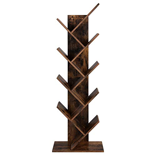 VASAGLE Tree Bookshelf, 8-Tier Floor Standing Bookcase, with Wooden Shelves for Living Room, Home Office, Rustic Brown LBC11BX