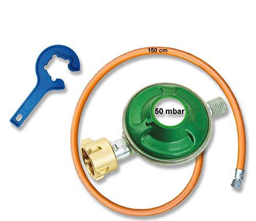 CAGO Gasregler Druckregler Druckminderer 50 mbar mit Gas-Schlauch 150 cm + Gasregler-Schlüssel - Reglerlöser, Schlauch-Regler Anschluss-Set