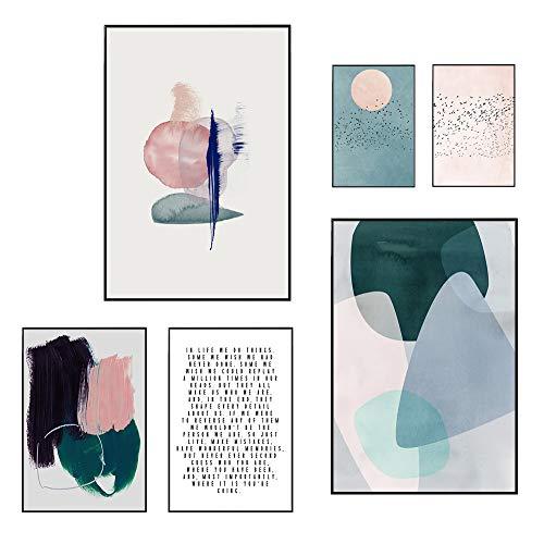JUNIQE® Gerahmtes Poster-Set - Abstrakte & Pinselstrich-Kunst - Poster & Prints für stilvolle Wände - 2X 20x30, 2X 30x45 & 40x60