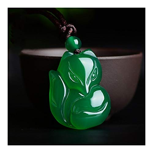 SHOYY Colgante de zorro de calcedonia con colgante de zorro de ágata blanca y jade, amuleto de la suerte, colgantes auspiciosos, para hombres y mujeres, joyas de jade (color de la gema: zorro verde)