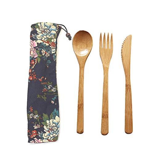 Juego de 3 cubiertos de bambú natural con cuchara de bambú con bolsa de tela, utensilios de cocina, palillos de bambú