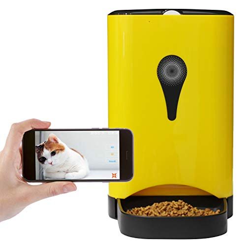 Dr. Feeder 4.5L Smart HD Camera Feeder for Video and Audio Communication, Automatic Pet Feeder for Cats and Dogs, APP Controlled Food Dispenser Through Wi-Fi, Yellow
