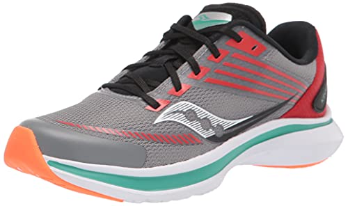 Saucony Kinvara 12 Running Shoe, Grey/Orange, 6 Wide US Unisex Big_Kid