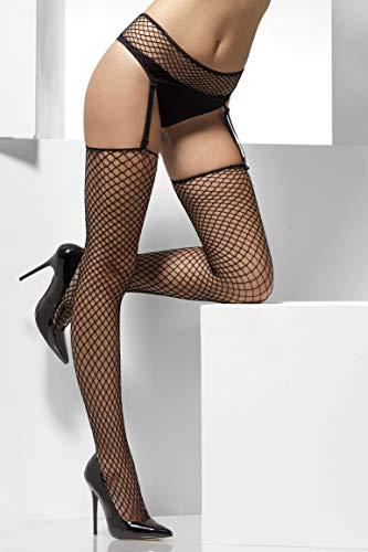 Fever Women's Lattice Net Hold-Ups with Suspender Belt, Black, One Size,5020570038598