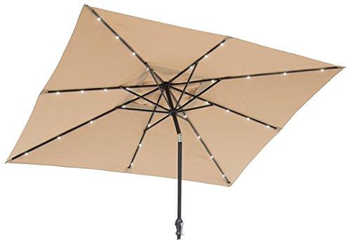 Sun-Ray 811027 9'x7' Rectangular 8-Rib Solar Patio Umbrella, 32 LED Lights, Crank and Tilt,...