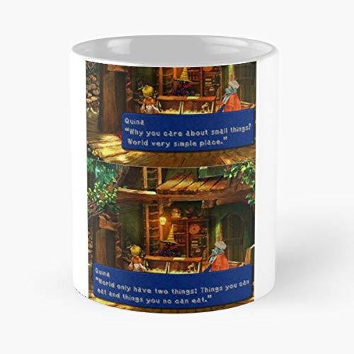 Skelanimals Videogame Square Quen Enix Quina Ff9 9 Final Fantasy Squaresoft Best Mug Tiene 11oz de Mano Hechas de cerámica de mármol Blanco