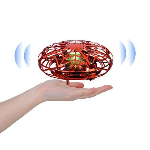 Sinwind UFO Mini Drohne für Kinder, Hubschrauber Quadrocopter mit 360°Rotierenden, wiederaufladbares Flugspielzeug für Kinder im Alter von 5 bis 15 Jahren, Kindergeschenke (rot)