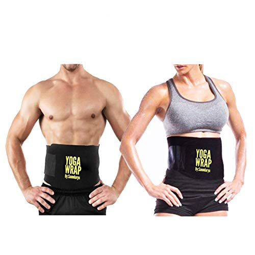 Saundarya Men's and Women's Yoga Wrap Sweat Belt Tummy Trimmer Adjustable Waist Shaper for Weight Loss
