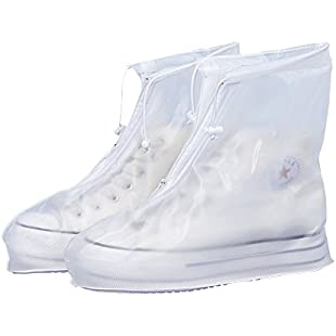 Shoes Cover, GIM Transparent White Reusable Waterproof Rain Shoes Cover Overshoes Snow Protective Guard Slip-resistant Rain Boots Men Women Girls Boys (L, White)