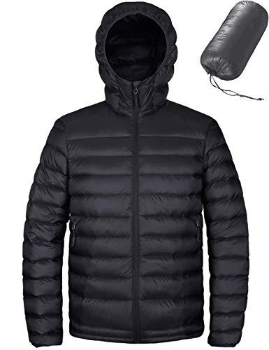 HARD LAND Men's Hooded Packable Down Jacket Lightweight Insulated Winter Puffer Coat Outdoor Black Size M