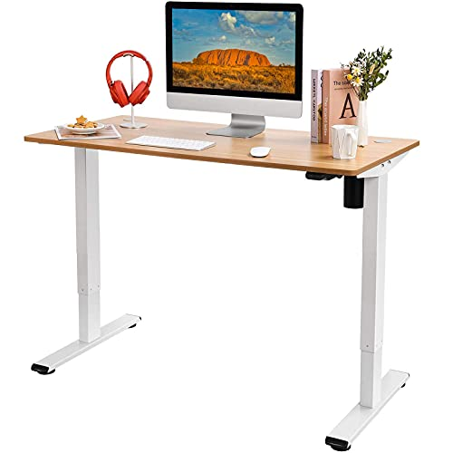 Flexispot EG1 Standing Desk Height Adjustable Desk Electric Sit Stand Desk 48 x 24 Inches with Splice Board Home Office Desks (White Frame + Maple Top)