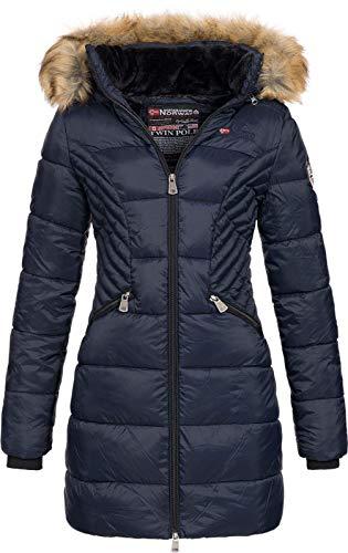 Geographical Norway ABEILLE - Grande parka da donna - Caldo cappotto invernale - Maniche lunghe e collo in pelliccia sintetica - Giacca da donna in tessuto resistente al tessuto (MARINE S)