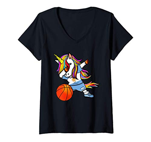 Mujer Dabbing Unicorn Baloncesto Argentina - Bandera Argentina Camiseta Cuello V