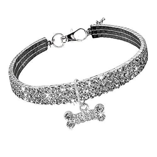 AFSDF Collar de Perro Cuello de Cristal Pet Elástico con pedrería para Gatos y Perros pequeños