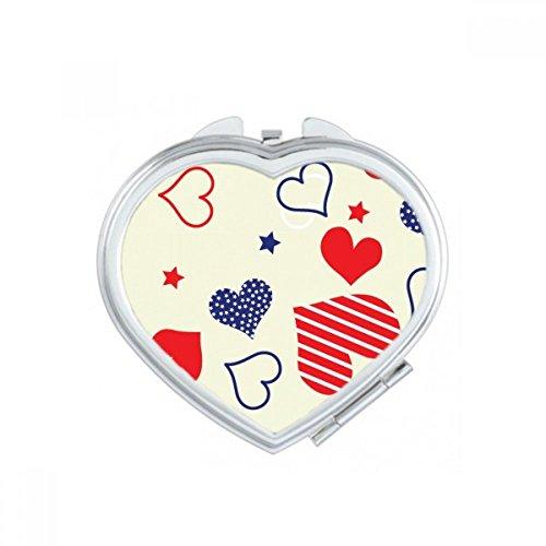 DIYthinker Rouge Bleu en Forme de Coeur Pentagram Amérique du Coeur de Maquillage Compact Miroir de Poche Portable Mignon Petit Miroirs Main Cadeau Multicolore